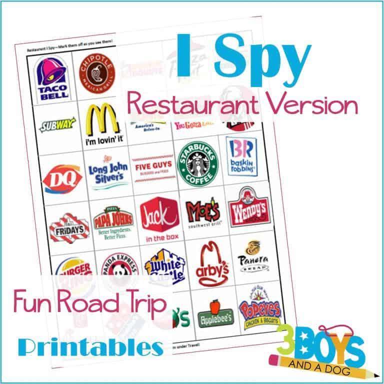 Restaurant I Spy Road Trip Printable