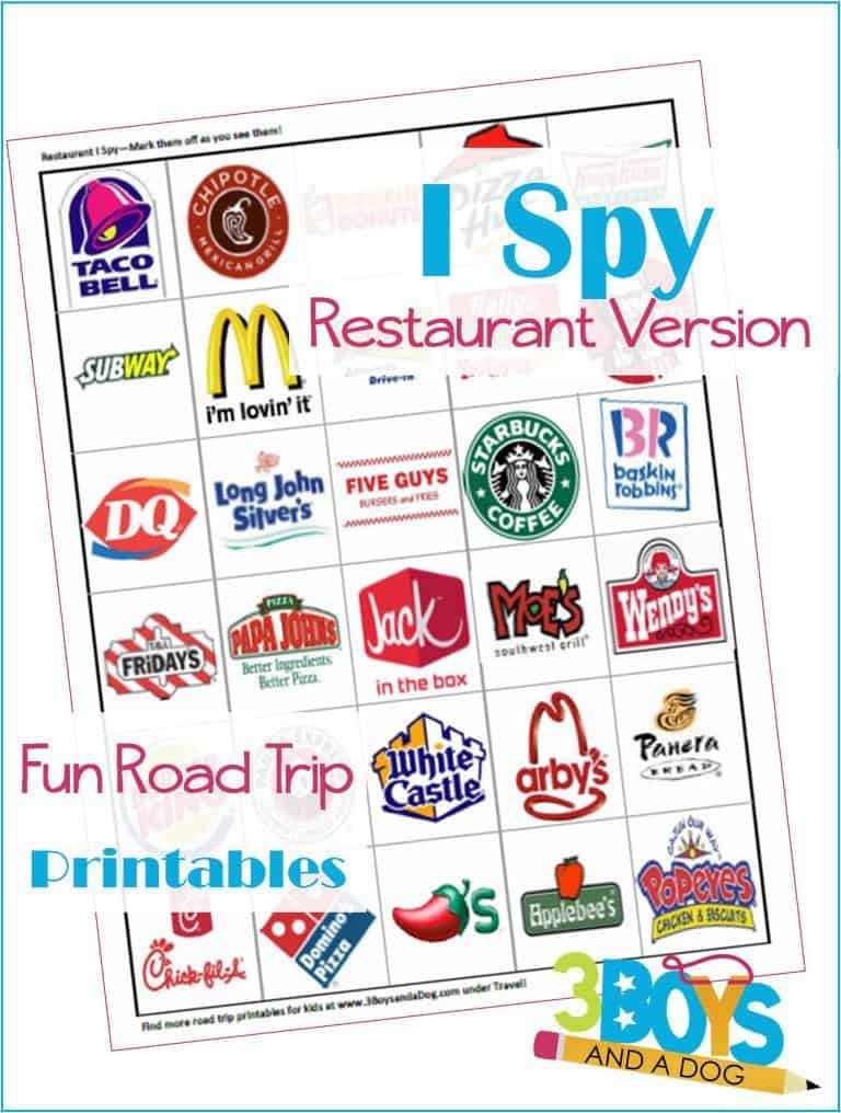 picture regarding Road Trip Scavenger Hunt Printable named Street Vacation Printables for Small children: Cafe I Spy Cost-free Automobile
