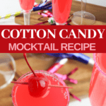 pretty pink cotton candy mocktails for children