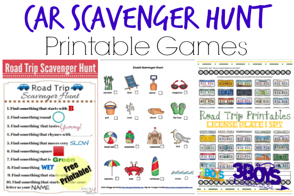 24 Car Scavenger Hunt Printable Games