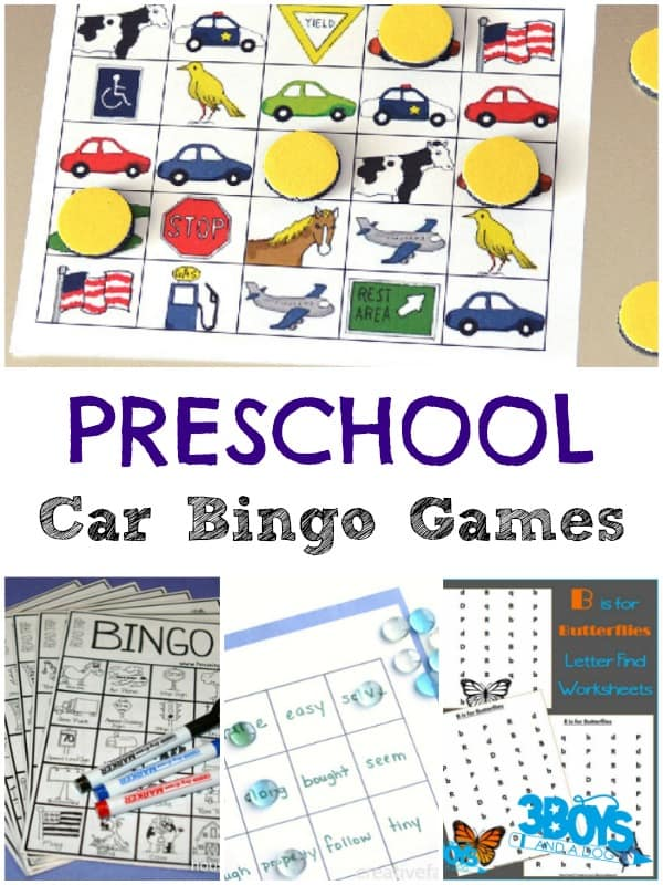 Car Bingo Games for Preschoolers
