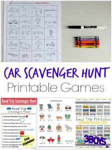 Car Scavenger Hunt Printable Games