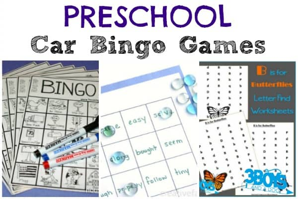 Preschool Car Bingo Games