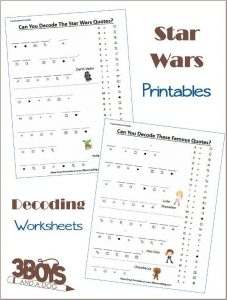 Star Wars Decoding Worksheets