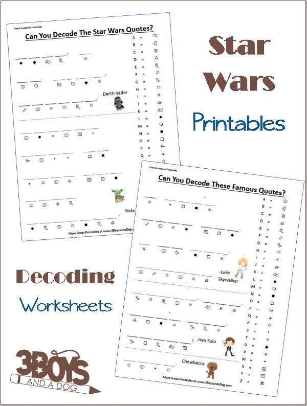 Star Wars Decoding Worksheets – 3 Boys and a Dog