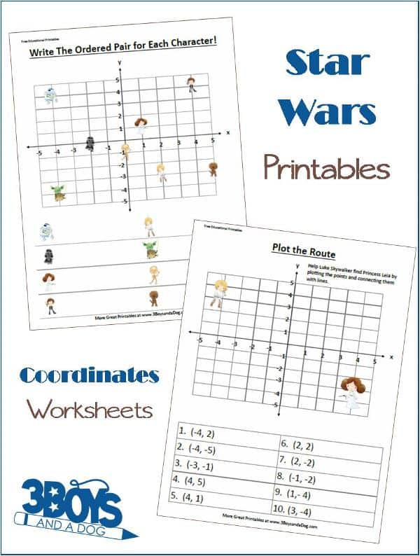 Star Wars Fun Coordinates Worksheets 3 Boys and a Dog – Maths Coordinates Worksheets