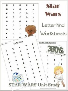 Star Wars Letter Find Printable Worksheets