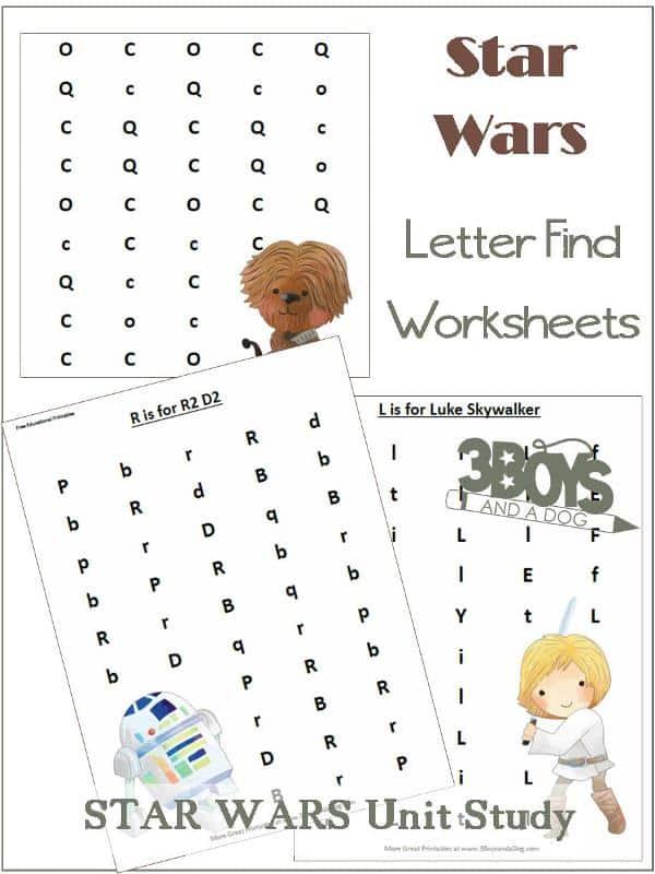 Star Wars Letter Find Worksheets