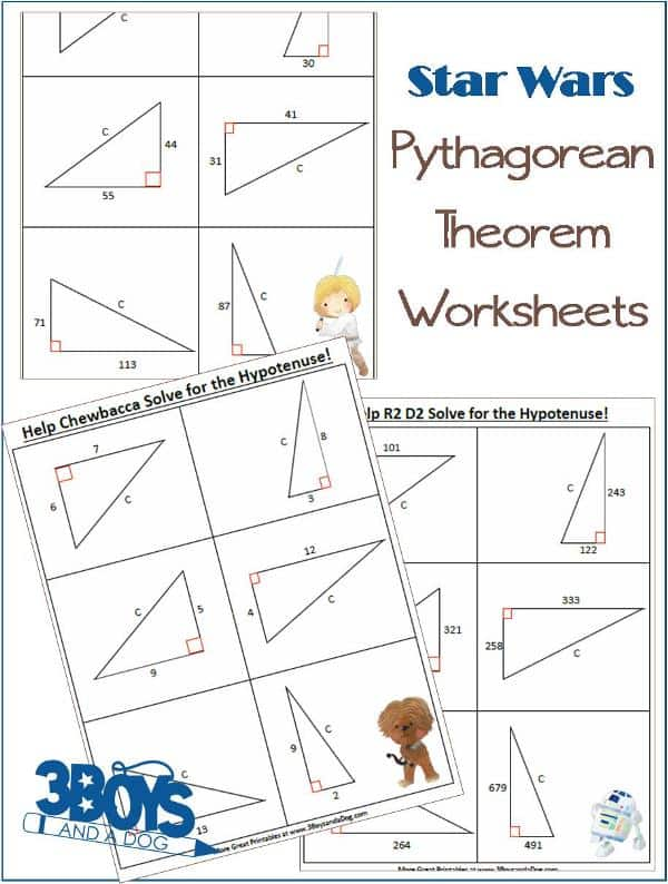 Star Wars Pythagorean Theorem Worksheets 3 Boys and a Dog – Math Pythagorean Theorem Worksheets