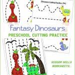 Dinosaurs Preschool Cutting Practice Worksheets