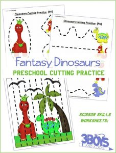 Dinosaurs Preschool Cutting Practice Worksheets