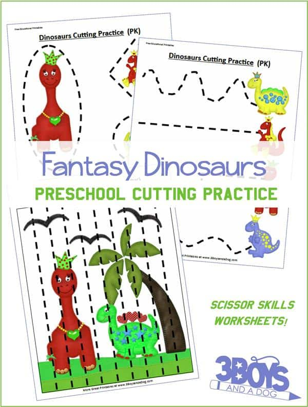 Preschool Cutting Practice: Dinosaurs Worksheets – 3 Boys and a Dog