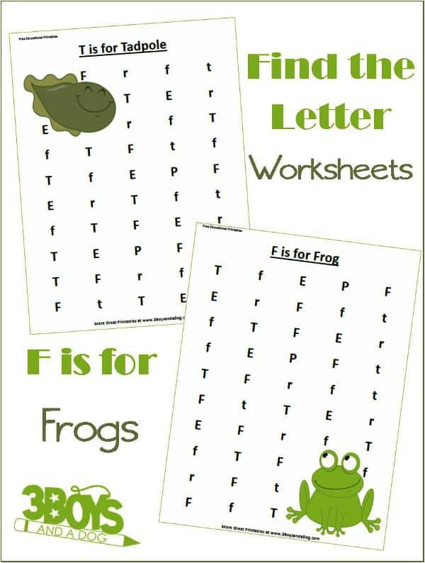 find the letter f is for frogs