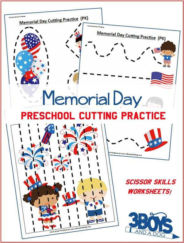 Memorial Day Preschool Cutting Practice