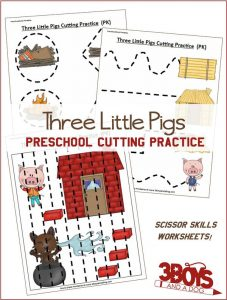 Three Little Pigs Preschool Cutting Practice