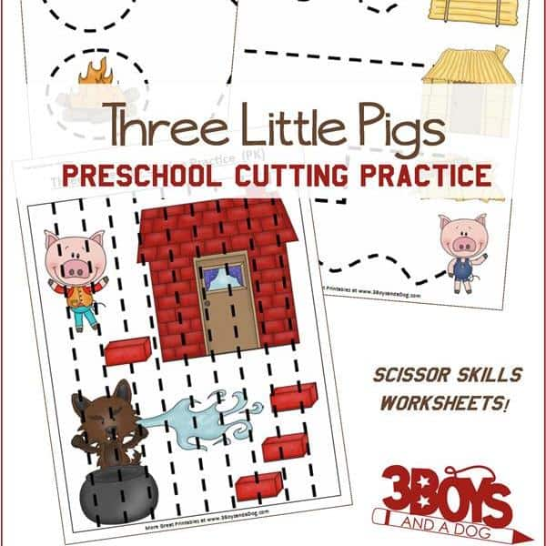 Three Little Pigs Preschool Cutting Practice on Cleaning Tools For Kindergarten Worksheets