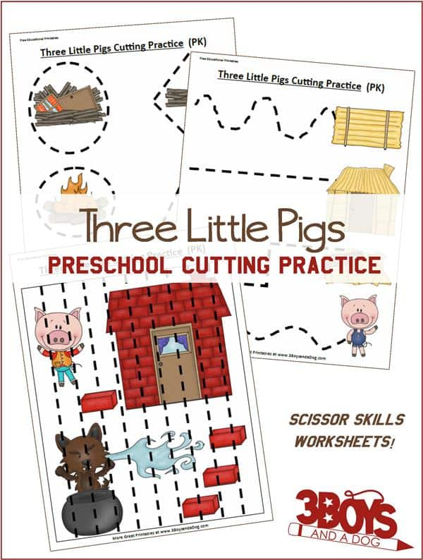Three Little Pigs Preschool Cutting Practice