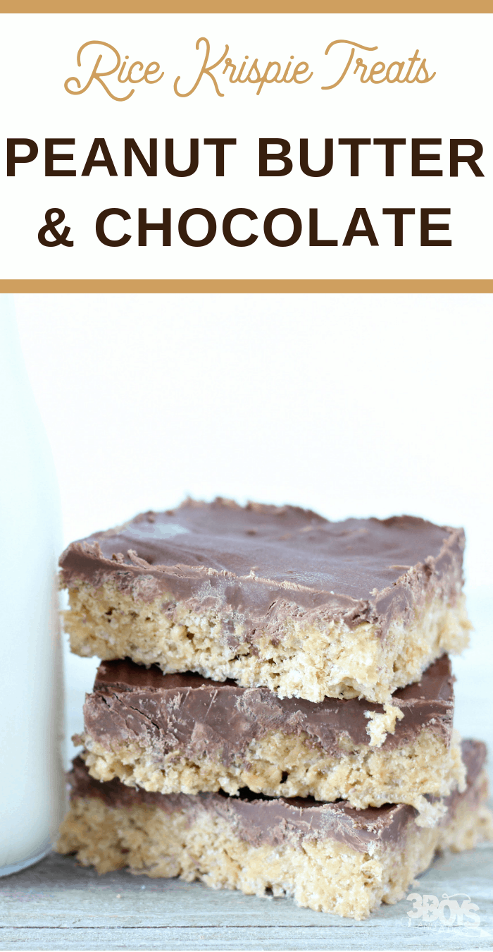 best ever Rice Krispie treats with peanut butter and chocolate