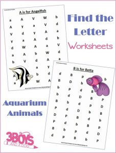 Aquarium Animals Letter Find Worksheets