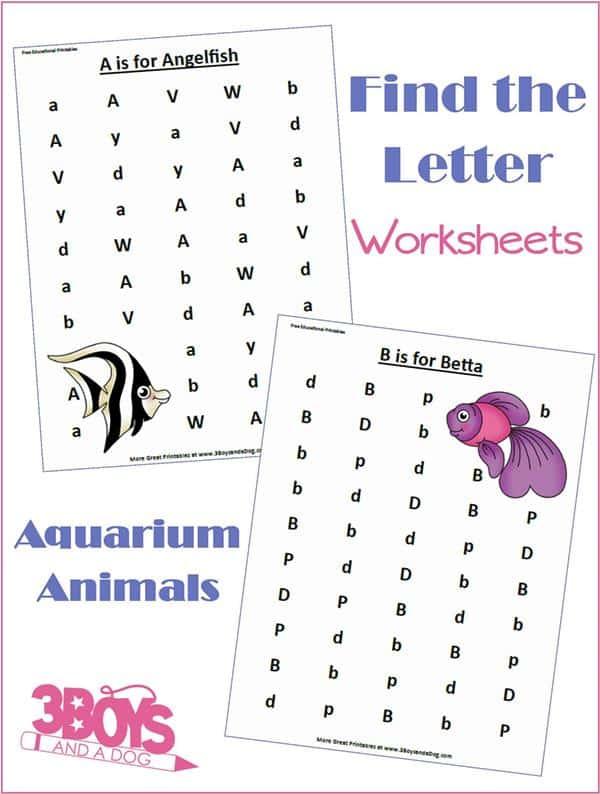 Aquarium Animals Letter Find Worksheets