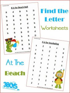 At The Beach Letter Find Worksheets