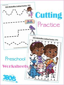 Doc McStuffins Preschool Cutting Practice Worksheets