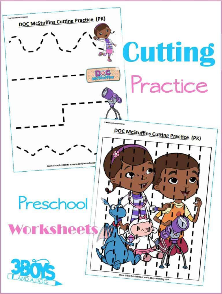 Doc McStuffins Preschool Cutting Practice Worksheets