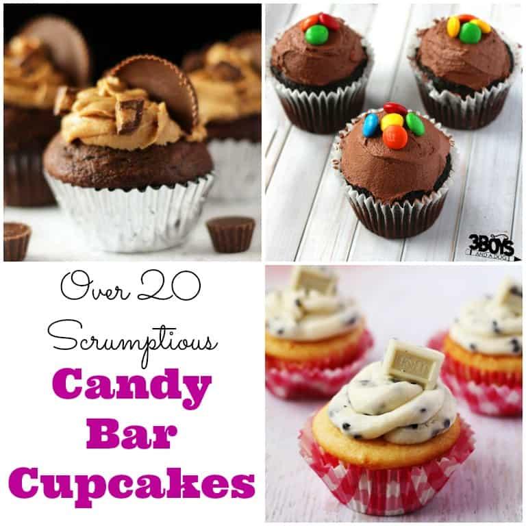 Over 20 Scrumptious Candy Bar Cupcakes
