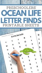 letter find under the sea worksheets