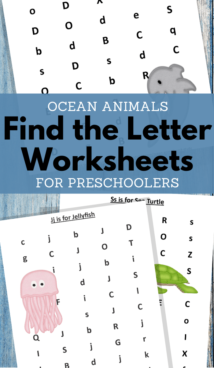 find the letter ocean animals worksheets