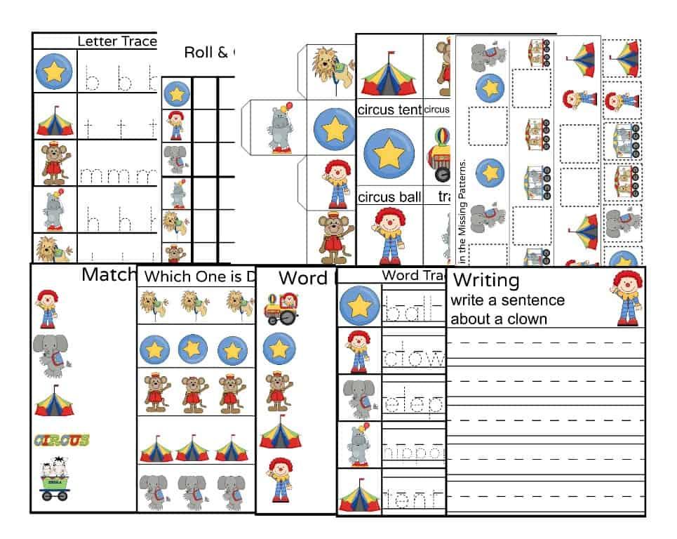 circus worksheets for preschoolers