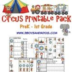 Circus Printable Worksheets for preschool through first grade