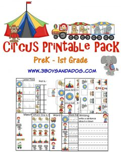 Circus Printable Worksheets for preschool through first grade