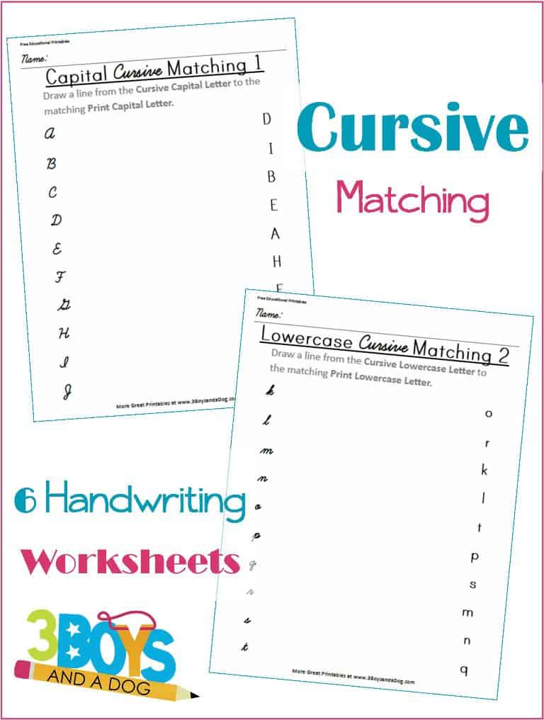 Cursive and Print Letter Matching Printable Worksheets 3 Boys – Free Cursive Worksheets