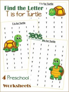 Free printable letter find worksheets: T is for Turtle