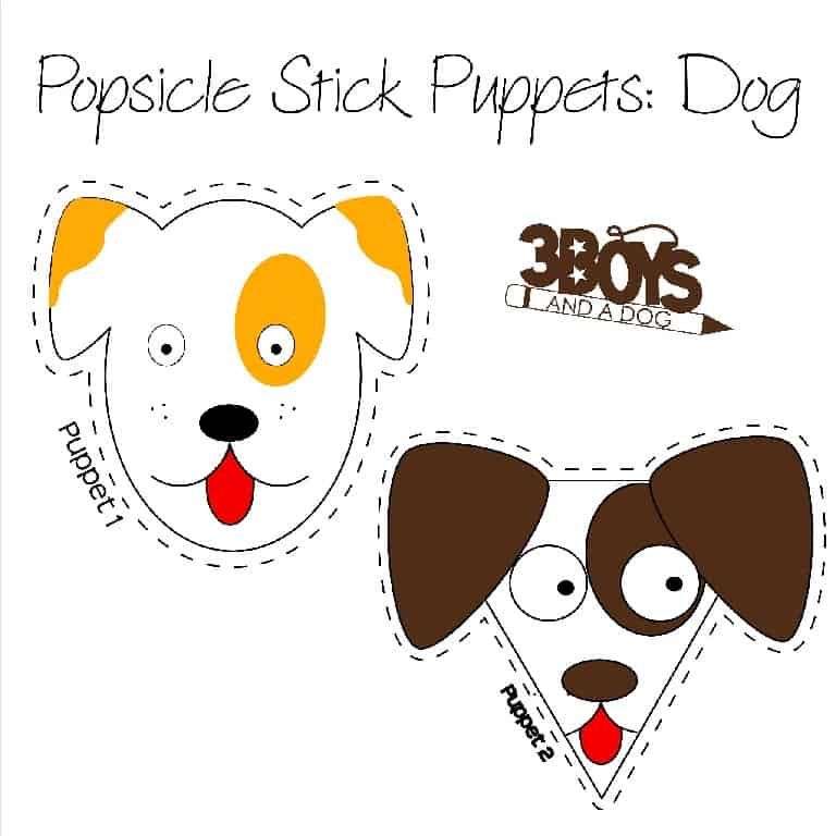 Dogs Popsicle Stick Puppets Printables 3 Boys And A Dog