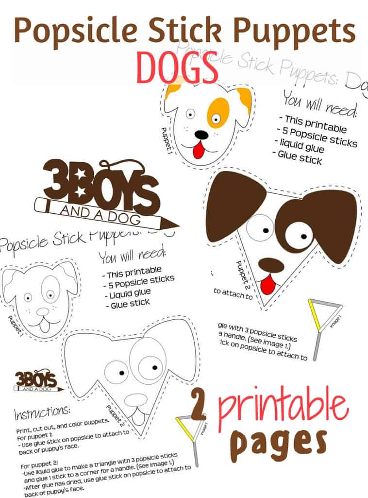 Dogs Popsicle Stick Puppets Printables