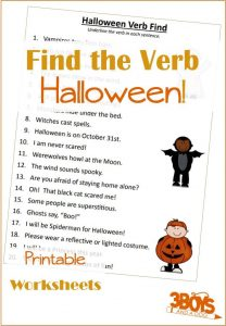 Halloween Finding Verbs Printable Worksheet