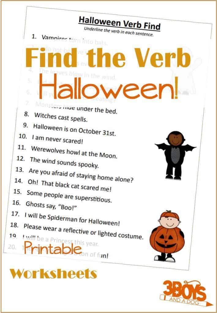Halloween Finding Verbs Printable Worksheet