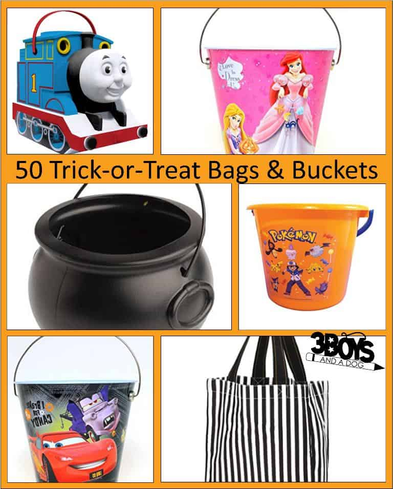 trick or treat bags and buckets for halloween