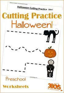 These Halloween Printables: Cutting Practice for Preschoolers will help your preschool aged children work on improving dexterity and motor skills.
