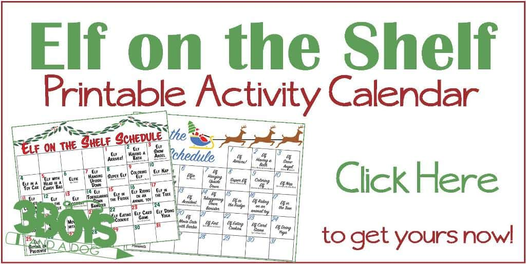 our elf printable activity calendar
