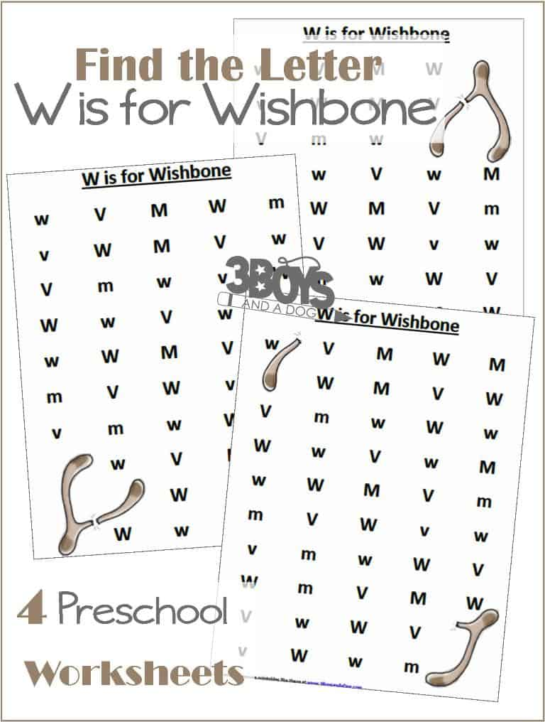 Find the Letter W is for Wishbone - alphabet printable worksheets - letter recognition for preschoolers
