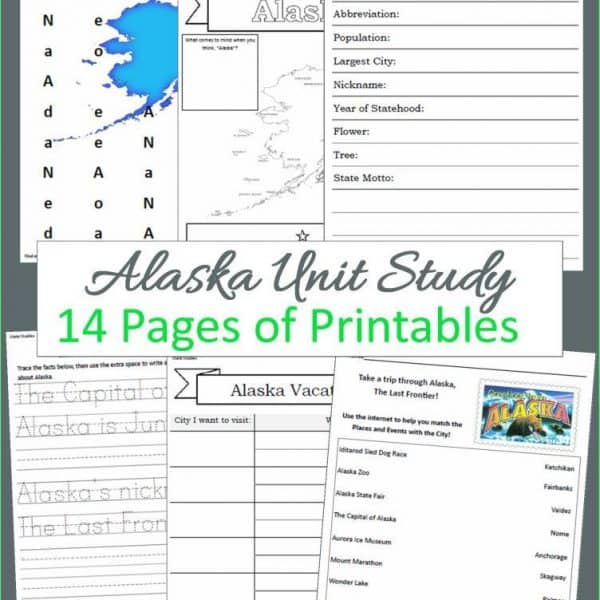 Alaska State Unit Study - 14 page downloadable workbook to help you teach your children all about the State of Alaska.