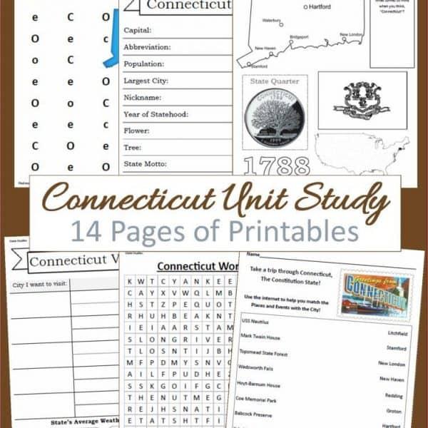 Connecticut Unit Study 14 pages of printables