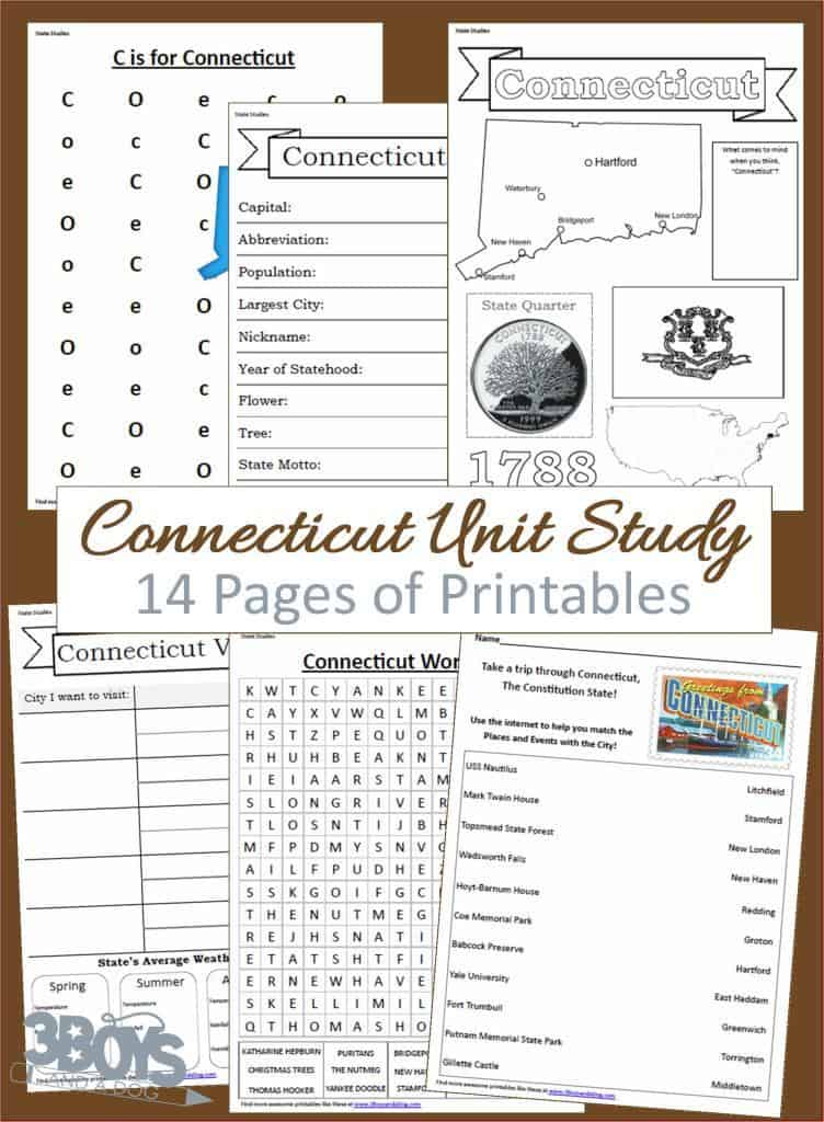 Connecticut Unit Study 14 pages of printables