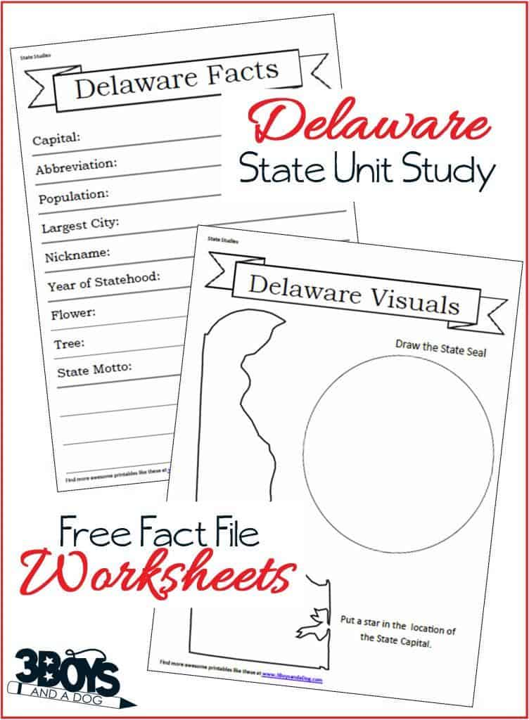 Delaware State Fact File Worksheets - part of a 14 page Unit Study Workbook