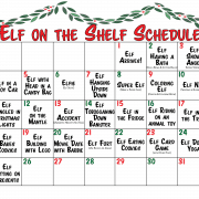 Red and Green Elf on the Shelf Printable Activity Calendar