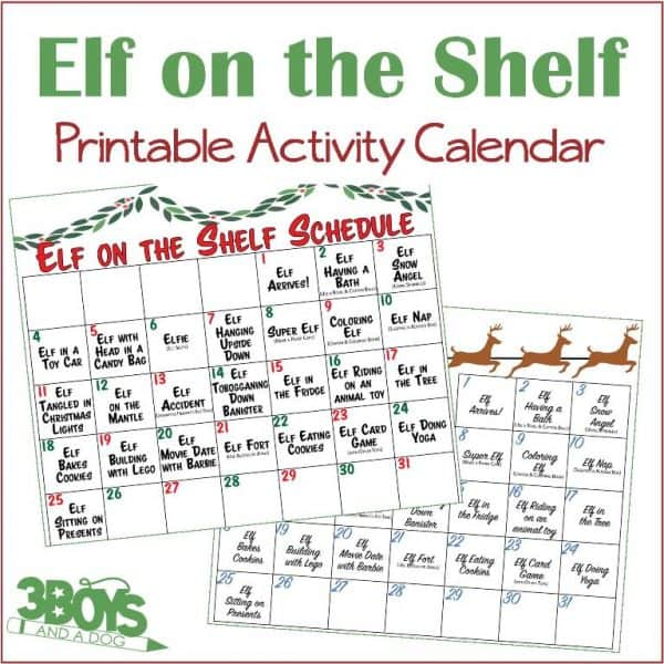 Elf on the Shelf Printable Activity Calendar
