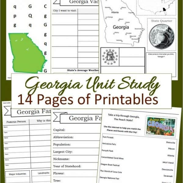 Georgia Unit Study 14 pages of printables